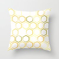 honeycomb Throw Pillows featuring Honeycomb by Thomas Knapp