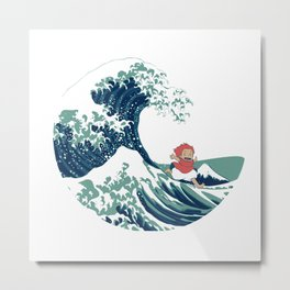 Ponyo and the great wave Metal Print