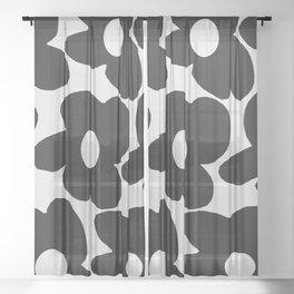 Black Retro Flowers White Background #decor #society6 #buyart Sheer Curtain
