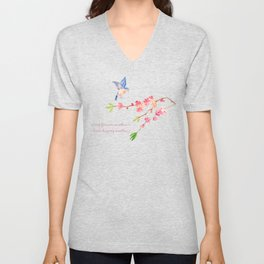 My favorite weather - Romantic Birds Cherryblossoms and Spring Typography on aqua Unisex V-Neck