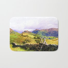 Stile over a Dry Stone Wall, Lake District, UK. Watercolour Painting Bath Mat