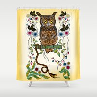 andreas preis Shower Curtains featuring Vibrant Jungle Owl and Snake by famenxt