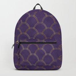 Elegant Purple Gold Watercolor Scallop Pattern Backpack