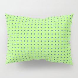 polka dots blue circles on green back ground Pillow Sham