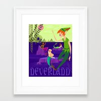 neverland Framed Art Prints featuring Neverland by Kathryn Hudson Illustrations