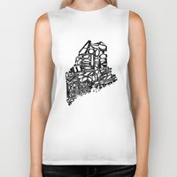 maine Biker Tanks featuring Typographic Maine by CAPow!