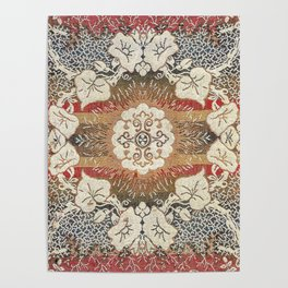 Botanical Embroidery I // Flowery Colorful Red Blue Green Yellow Tan Ornate Accent Rug Pattern Poster