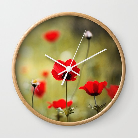 Wild Anemones Wall Clock