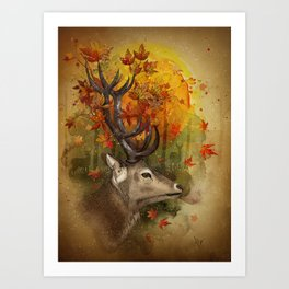 Oh, Deer! Autumn Art Print