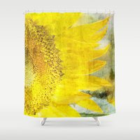 sunflower Shower Curtains featuring Sunflower by Maria Heyens
