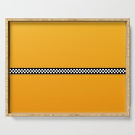 NY Taxi Cab Yellow with Black and White Check Band Serving Tray