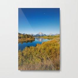 Near the Snake river looking toward Mount Moran in the Grand Tetons. Metal Print
