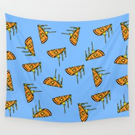 Pepperoni Pizza Dripping Cheese by the Slice Pattern (light blue) Wall Tapestry
