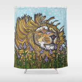 Lion in Lavender Painting Shower Curtain