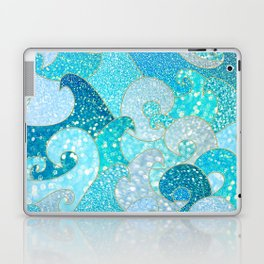 Mermaid Waves And Sea Faux Glitter- Sun Light Over The Ocean Laptop & iPad Skin