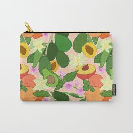 Avocado + Peach Stone Fruit Floral in Nectarine Carry-All Pouch