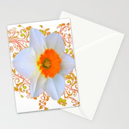 SPRING DAFFODIL SCROLLS ART GARDEN PATTERN Stationery Cards