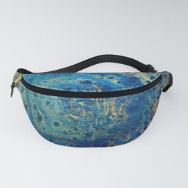 Blue and Gold Spiral Art Fanny Pack
