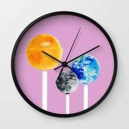 SUN MOON EARTH LOLLIPOPS Wall Clock