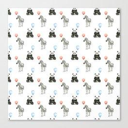 Panda and Zebra Balloons Pattern, Baby Animals Birthday Pattern Canvas Print