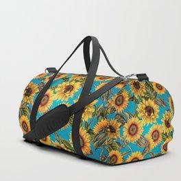 Vintage & Shabby Chic - Sunflowers on Turqoise Duffle Bag