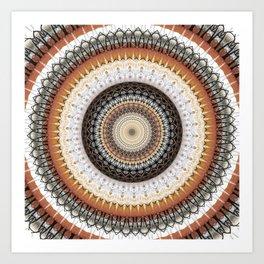 Brown Ink Boho Mandala Art Print
