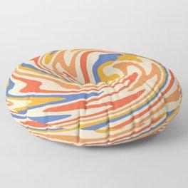 70s Retro Swirl Color Abstract 2 Floor Pillow