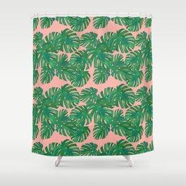 Monstera Stripe on Pink Shower Curtain