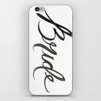 bride iPhone & iPod Skins featuring Bride by Creative Mess In A Corporate Dress