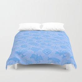 Polynesian Symbols in Mod Blue Duvet Cover