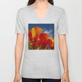 California Dark Orange Tangerine Poppies in Sunny Field Unisex V-Neck