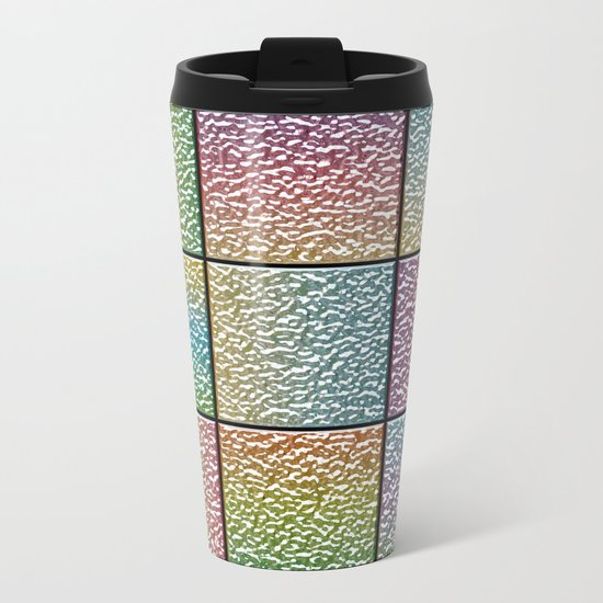 Pastel Rainbow Chrome Tiles Metal Travel Mug