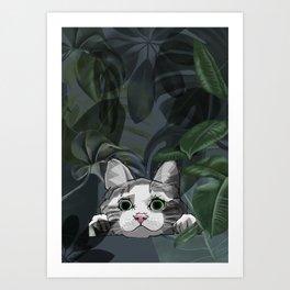 Jungle cat at night Art Print