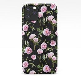 Peonies in Her Dreams - black iPhone Case