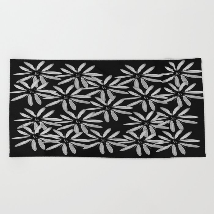 Tiny White Flowers on Black Background #decor #society6 Beach Towel