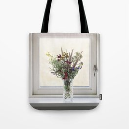 Flowers in a window Tote Bag