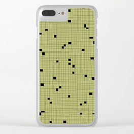 Light Green and Black Grid - Missing Pieces Clear iPhone Case