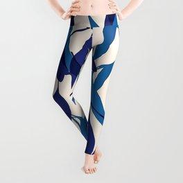 Blue Leafy Pattern Leggings
