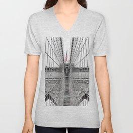 The Brooklyn Bridge and American Flag Unisex V-Neck