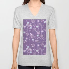 Bright openwork hearts on a lilac background. Unisex V-Neck
