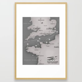 English Channel map (mono) Framed Art Print