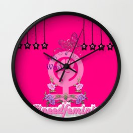 #INeedFeminism - 4th Wave Bloom Wall Clock