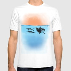 Orca and Dolphin Mens Fitted Tee MEDIUM White