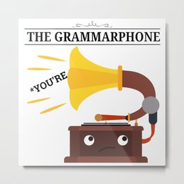 The Grammarphone - Funny Gramophone Wordplay Metal Print