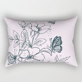 Line Drawn Dog Rose on Pink Rectangular Pillow