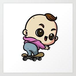 Baby Skateboard Cute Skater Art Print