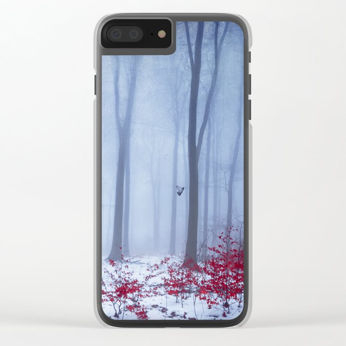 winter forest with birds Clear iPhone Case