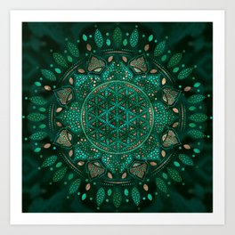Flower of Life Dot Art malachite gold Art Print