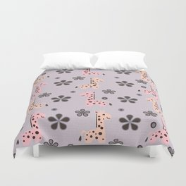 Girl Giraffe Playland Duvet Cover