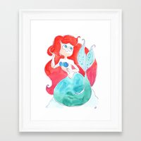 ariel Framed Art Prints featuring Ariel by Elise Lesueur
